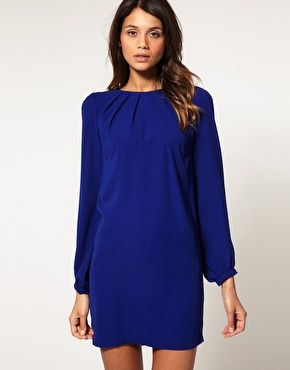cobalt long sleeve dress. asos.    I tried, and tried to find this dress. I wanted it sooo bad!