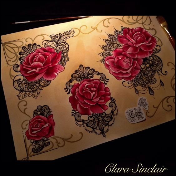roses and lace flash set by clara sinclair tattoos pinterest lace and roses. Black Bedroom Furniture Sets. Home Design Ideas