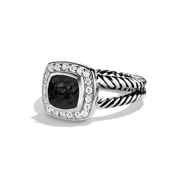 David Yurman Petite Albion Ring with Black Onyx and Diamonds ($675) via Polyvore featuring jewelry, rings, pave diamond ring, black onyx jewelry, diamond jewelry, black onyx ring and diamond rings