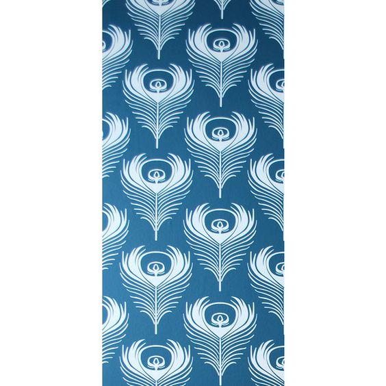 Ferm Living Feather Wallpaper - 1 panel (¥9,395) ❤ liked on Polyvore featuring home, home decor, wallpaper, ferm living, blue wallpaper, white home decor, blue home decor e ferm living wallpaper