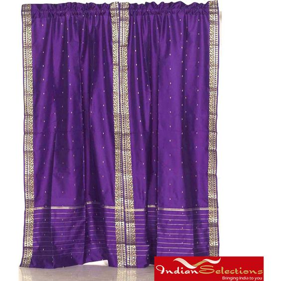 Sheer Sari 84-inch Purple Rod Pocket Curtain Panel Pair ($56) ❤ liked on Polyvore
