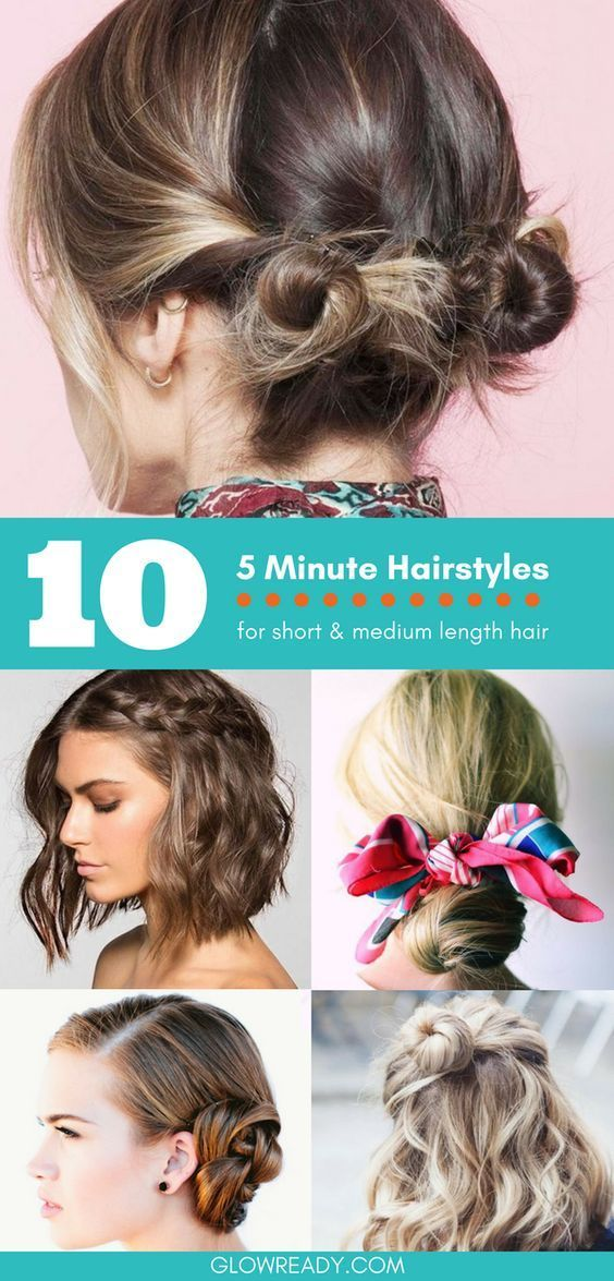 10 Coiffures 5 Minutes Pour Cheveux Courts Et Cheveux Moyens Coiffure Blog Schulterlange Haare Frisuren Frisuren Haare