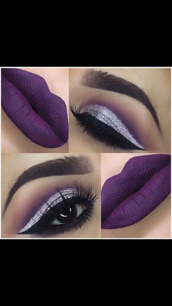 Silver eyeshadow and purple lips