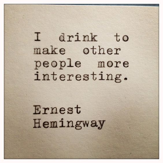 Ernest Hemingway Drinking Quote Typed On Typewriter and Framed: