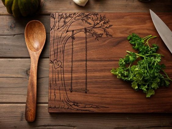 Personalized heart engraved wood cutting board 45 for Diy personalized wood cutting board