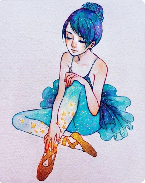 宛如星空般的髮色也太夢幻了吧!少女心炸裂的唯美插畫特輯 | 微文青 | 妞新聞 niusnews