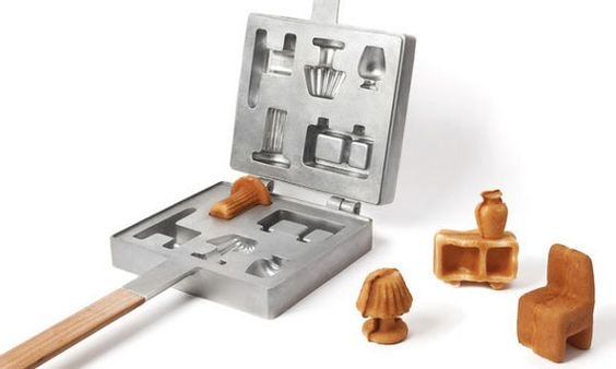 Waffle iron that makes dollhouse furniture. How ridiculous and silly