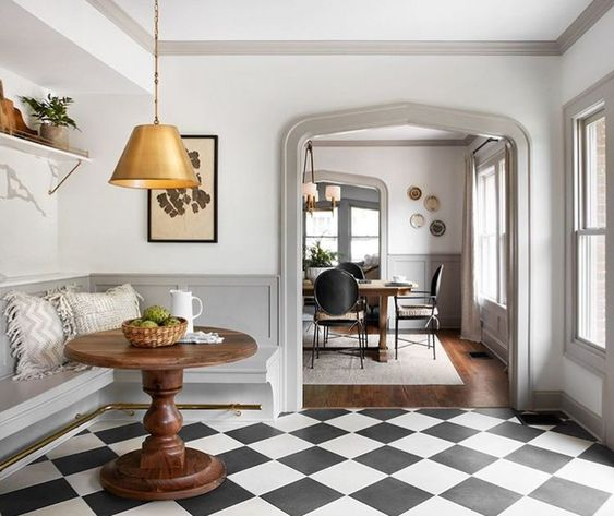 Gorgeous Breakfast Nook In A Kitchen With European Inspired Design, Black  And White Check Floors ...
