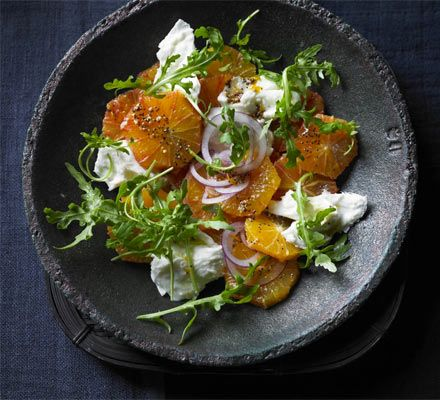 Blood orange, mozzarella & rocket salad. Tear creamy Italian cheese - or burrata if you can find it - into a fresh and citrussy salad with mustard dressing