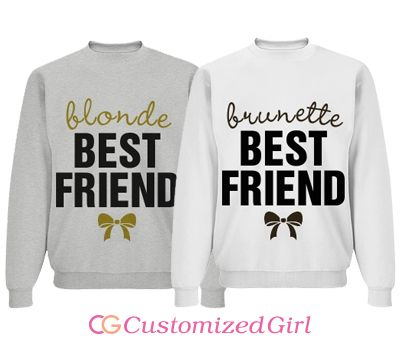Snap up these trendy best friend designs for you and your besties. Every brunette needs a blonde best friend. Featured on white for that good old vintage look, but customizable with names and colors.