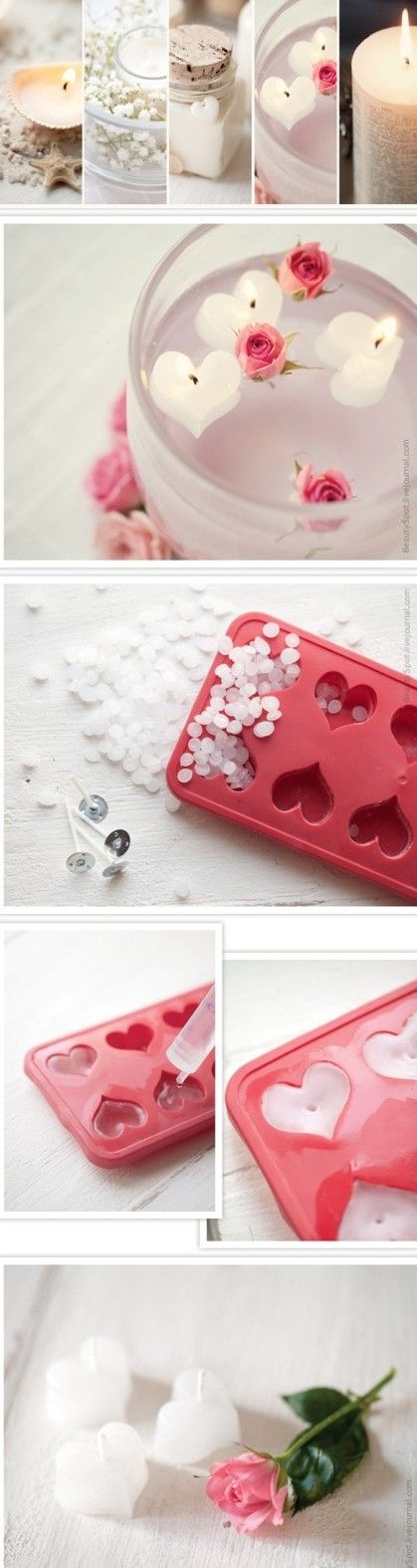 using silicone ice cube trays to make mini tea light candles!