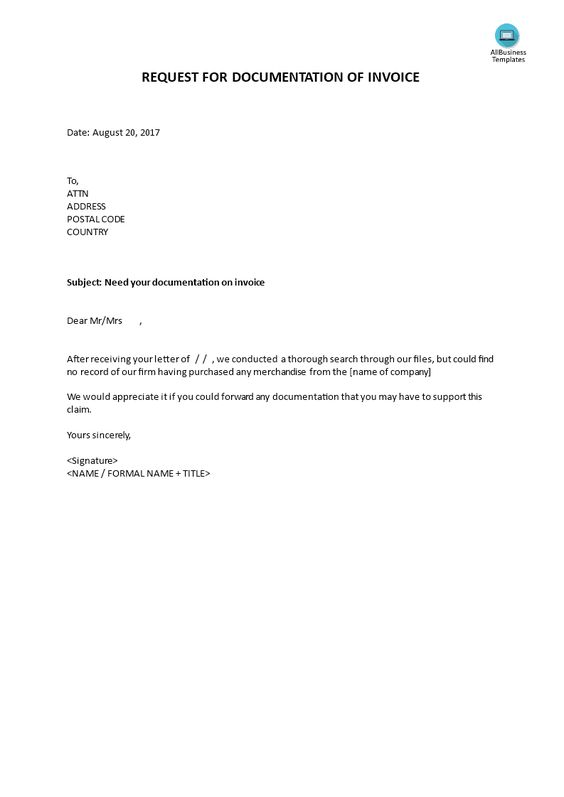 Request for documentation of invoice - How to write a Request for - heartfelt resignation letter