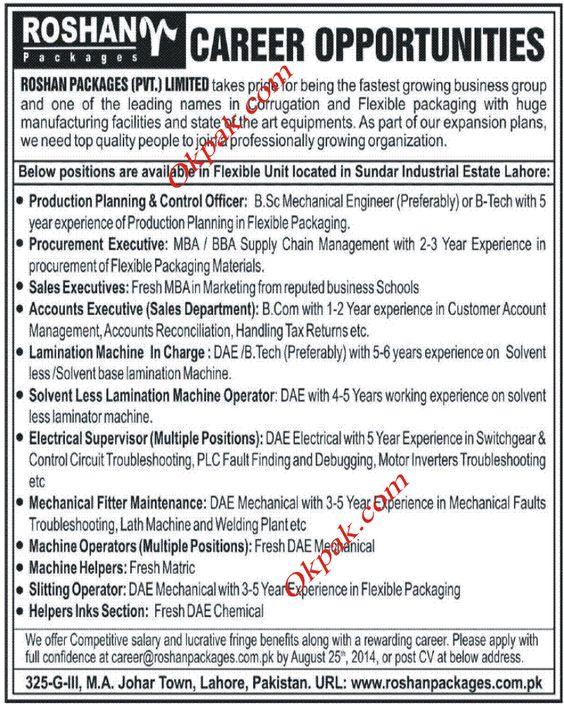 Roshan Packages Pvt Limited Jobs Jobs In Pakistan Pinterest - dredge operator sample resume