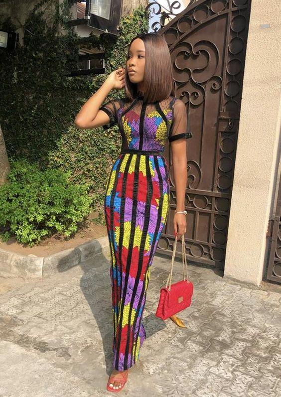 African print dress with velvet