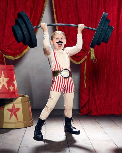 circus strongman boys costume - exclusively ours - Ladies and gentlemen . . . we have before you the strongest man on earth! He hoists the barbell high above his head with ease and performs feats of strength that amaze. #halloween #boyscostumes