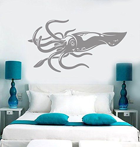 Borismotley Wall Decal Giant Squid Fishing Vinyl Removable Mural