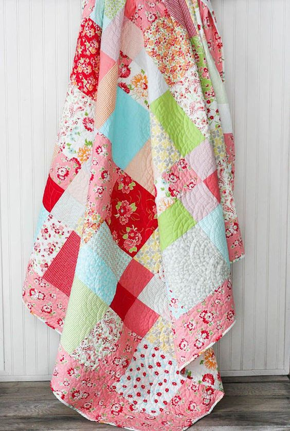 Twin Size Quilt Miss Kate Patchwork Quilt by CottonBerryQuilts