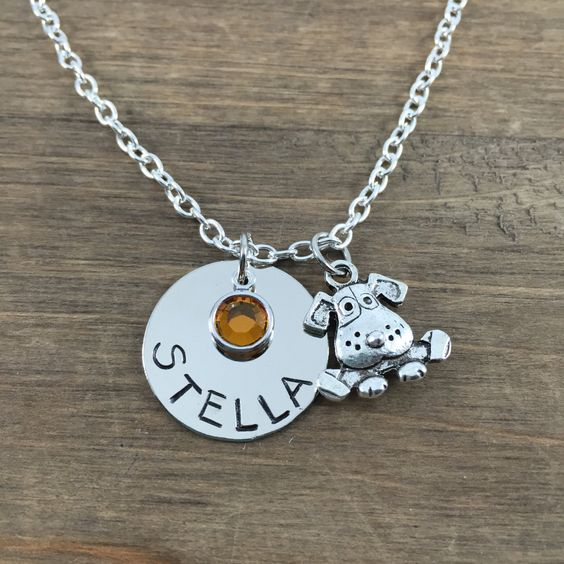 Personalized Dog Necklace - Hand stamped Name Necklace with Dog Charm - Custom Dog Lover Jewelry - Little Girl Necklace - Birthday Gift by SunflowerShadows on Etsy