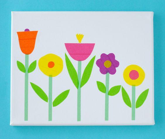 Une toile décorée de fleurs en masking tape, simple et frais !