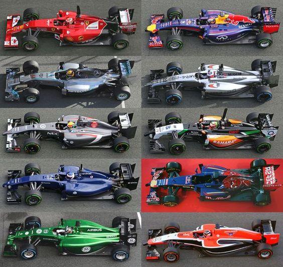 2014 Formula1 cars.