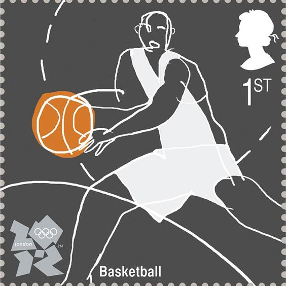 Basketball by Huntley Muir  Royal Mail postage stamps launched for London 2012 Olympic Games