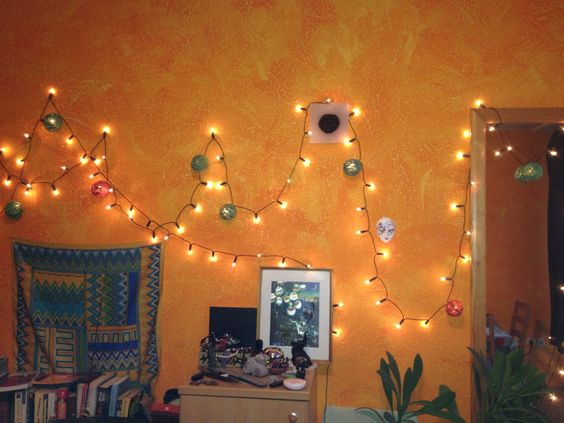 Yarn balls on christmas lights