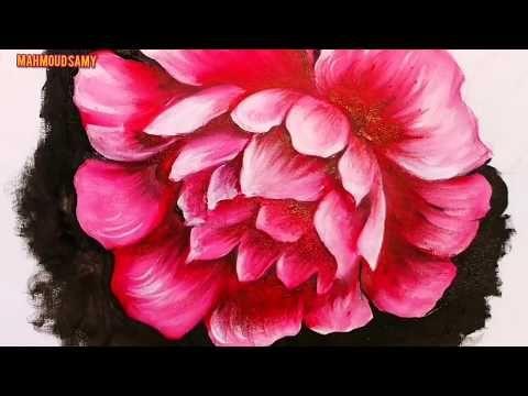 رسم وردة بالألوان الزيتية رسم الزهور بالخطوات م How To Draw Flowers By Oil Colors Youtube Art Rose Painting