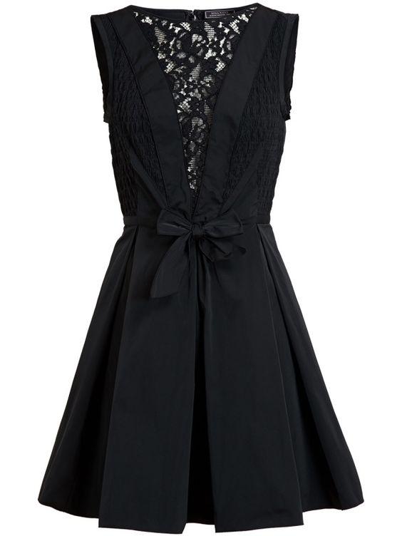 Trendige Kleider-2014-Nina Ricci schwarzes Blusenkleid-klassischer Spitzenbesatz