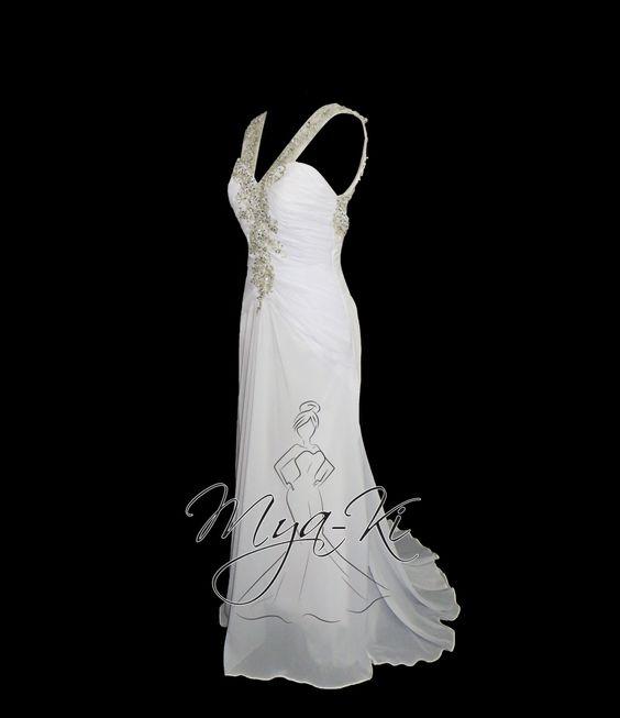Destination chiffon beaded Backless wedding Dress Custom by MyaKi, $500.00