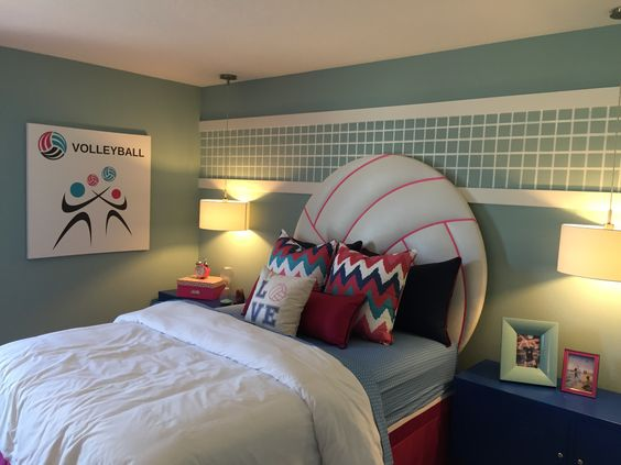 Girl's Volleyball bedroom, volleyball headboard