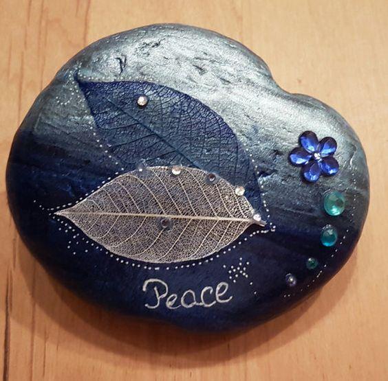 """Glitter stenen """"Vrede"""" decoratie Tuin cadeau bruiloft verjaardag moeder dag betrokkenheid presse-papier meditatie"""