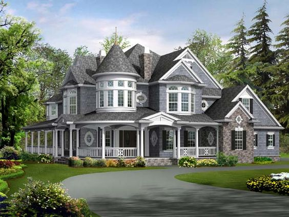 car garage  House plans and Family home plans on PinterestHouse Plan   Farmhouse Luxury Victorian Plan   Sq  Ft
