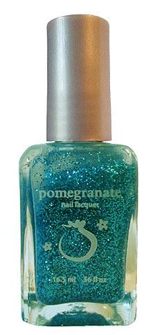 Pomegranate Nail Lacquer — Showgirl - clear nail polish with turquoise and blue micro glitter