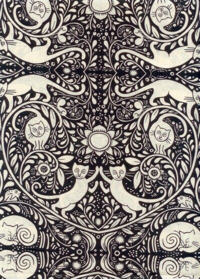 Catkin black and white fabric designed by Julie Paschkis