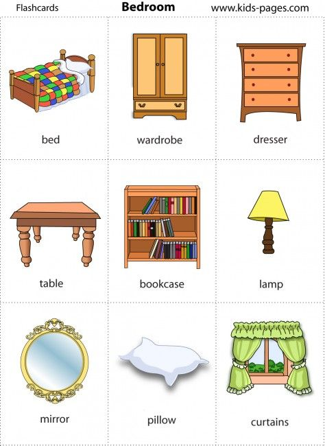 Tons of printable flashcards re pinned by pediastaff for Bedroom furniture vocabulary