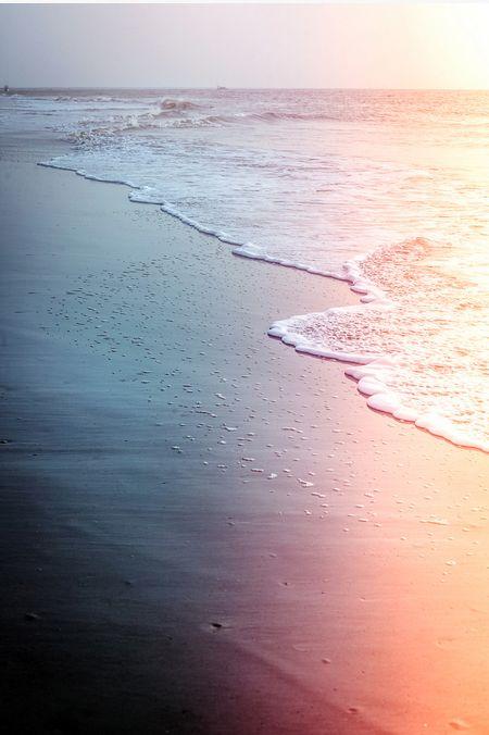 amazing black sand beach vintage polaroid photo