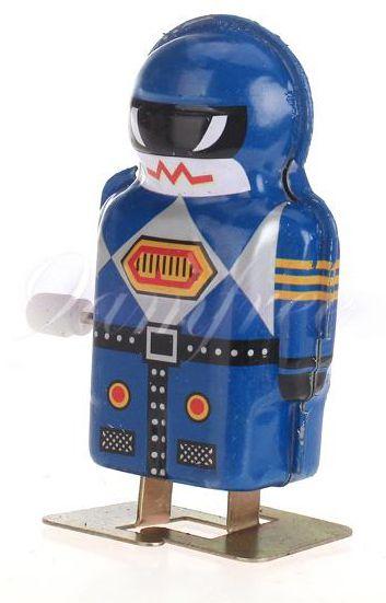 Vintage blue Wind Up tin Toy Walking robot