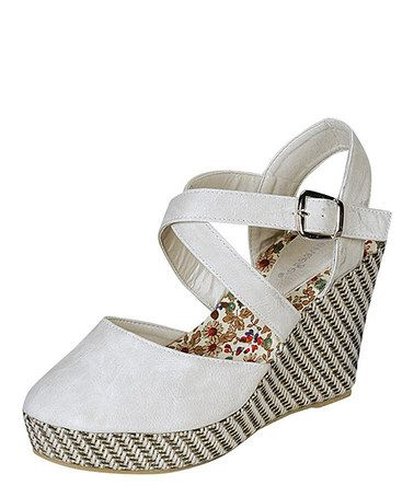 Look what I found on #zulily! White Echo Closed-Toe Wedge Sandal #zulilyfinds