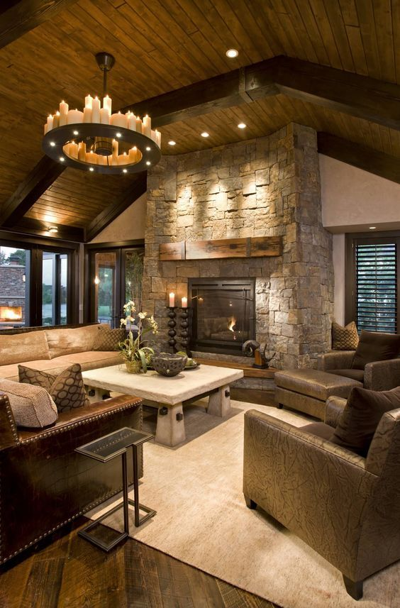 What A Gorgeous Grand Stone Fireplace Https Www