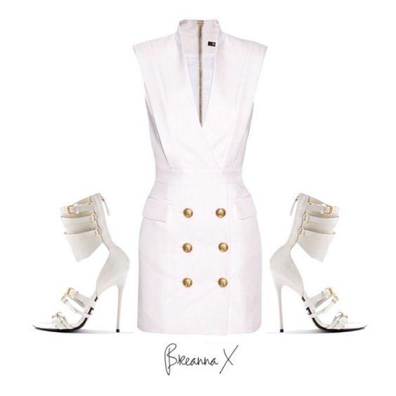 @balmainparis dress and @tomford heels.