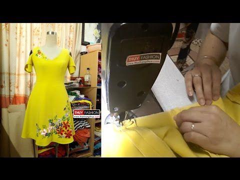 Cách may váy xòe thiên cổ chữ V (Phần 1) Thời Trang Thủy | Sewing circul...