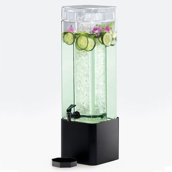 3 Gallon Mission Square Glass Beverage Dispenser with Black Metal Base