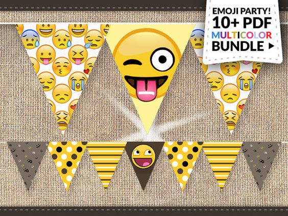 Emoji Party Bundle Instant Download: BIG Emoticon Smiley by Nentra: