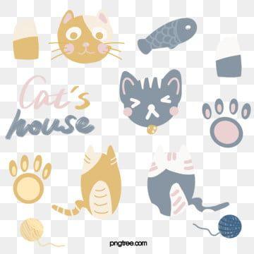 สต กเกอร Kawaii Kitty สต กเกอร แมว รอยเท าแมว ถ กล กขนภาพ Png และ Psd สำหร บดาวน โหลดฟร Cat Stickers Cat Footprint Kitten Stickers