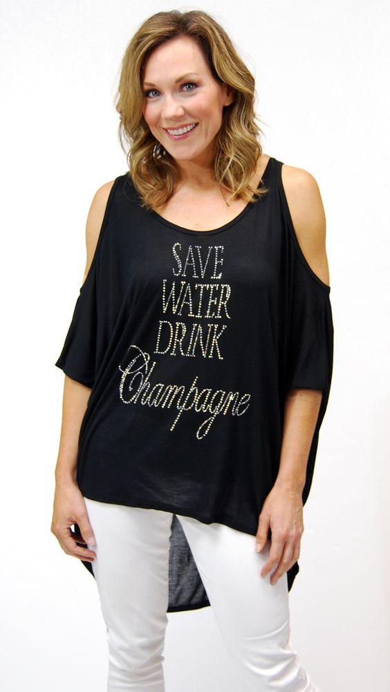 """""""Save Water Drink Champagne"""" Malibu Top #shopscandalous #SpringFashion"""