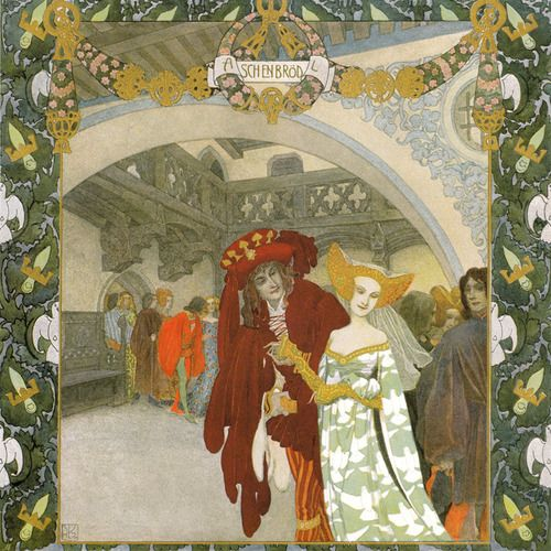 'Aschenbrödel / Cinderella' by the Brothers Grimm, illustrated by Heinrich Lefler. Part of a fairy tale calender published 1905 by Berger & Wirth, Leipzig.: