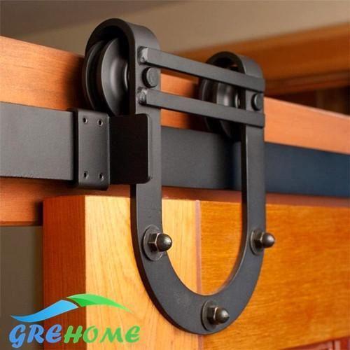 2M 6.6FT SLIDING BARN WOOD DOOR BLACK STEEL SLIDE RAIL SET SYSTEM HOME HARDWARE