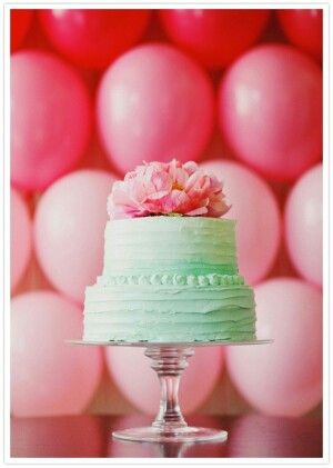 Mint Green & Pink Peony..now that is my kind of dream birthday cake