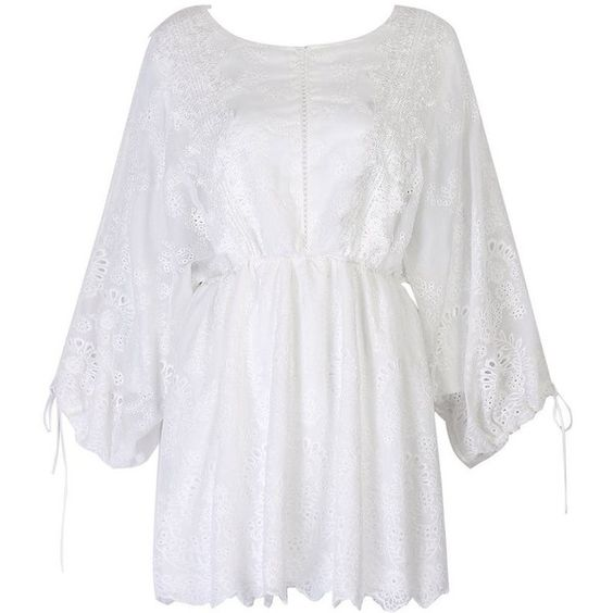 White Lace Up Back Bell Sleeve Lace Dress ($50) ❤ liked on Polyvore featuring dresses, lacy dress, lace up front dress, laced dress, lace dress and lace front dress