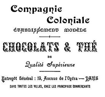 CARTEL postal cafe compagnie coloniales chocolats y the
